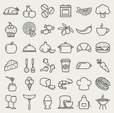 Food and cooking line icons. Vector set. Food and cooking web icons. Set of black symbols for a culinary theme. Healthy and junk food, fruit and vegetables vector illustration
