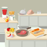 Food cooking lunch concept, cartoon style Stock Photo
