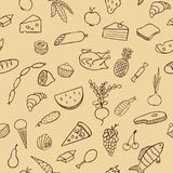 Food and cooking seamless vector pattern. Brown sketch Stock Photos
