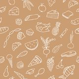 Food and cooking seamless vector pattern. Brown sketch Royalty Free Stock Photos