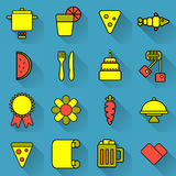 Food and cooking set of bright colored icons on blue background. Acidic unusual icons about cooking and food. Food and cooking set of bright colored icons with Stock Photos