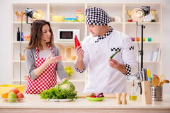 The food cooking tv show in the studio. Food cooking tv show in the studio Royalty Free Stock Photography