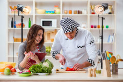 The food cooking tv show in the studio Stock Photos
