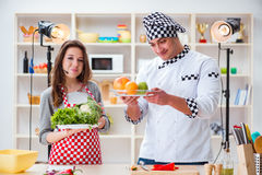 The food cooking tv show in the studio Royalty Free Stock Photo