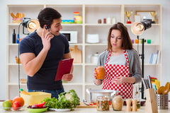 The food cooking tv show in the studio Royalty Free Stock Image