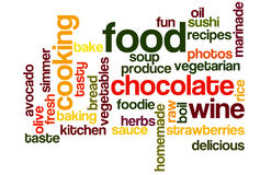 Food and Cooking Wordcloud. Food and Fun Word Cloud in Bright Colors Royalty Free Stock Image