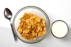 Food. Corn flakes cereal in milk stock photo