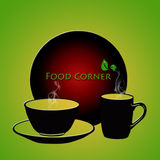 Food Corner. Dinnerware with text Food corner written on it Stock Images