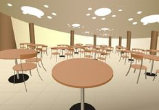 Food cort cafe with tables in mall interior.  Stock Images