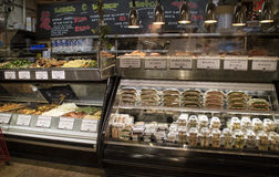 Food counters in a New York deli store Royalty Free Stock Photos