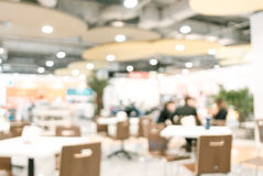 Food court blurred background with bokeh,defocused lights.  stock photo