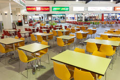 Food Court at the Dubai Outlet Mall. DUBAI, UAE - DEC 13: Food Court at the Dubai Outlet Mall. The shopping mall is part of Dubai Outlet City in Dubai. December stock images