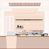 Food court with food in a shopping mall . stock illustration
