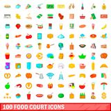 100 food court icons set, cartoon style. 100 food court icons set in cartoon style for any design illustration royalty free illustration