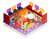 Food Court Interior Elements Isometric Composition. Interior multiple food vendors counters elements with common area for self-serve dinner colorful isometric Royalty Free Stock Image