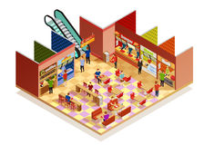 Food Court Isometric Composition Royalty Free Stock Photography