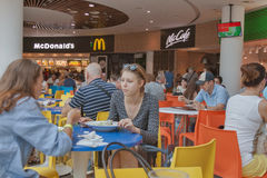 Food court in Ocean Plaza shopping mall in Kiev Stock Photos