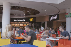 Food court in Ocean Plaza shopping mall in Kiev Stock Photography