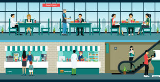 Food Court. The restaurant is located in the Food Court with customers using the service royalty free illustration