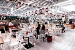 BALI, INDONESIA - FEBRAURY 19, 2019: Food court in the shopping mall of Bali island, Indonesia. Restaurant, store stock photography