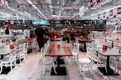 BALI, INDONESIA - FEBRAURY 19, 2019: Food court in the shopping mall of Bali island, Indonesia. Restaurant, store royalty free stock photography