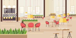 Food court in shopping mall. Horizontal vector illustration with many seats. flat vector illustration. royalty free illustration