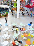Food court at shopping mall. KYIV, UKRAINE - SEPT 22, 2015: People at Ocean Plaza shopping mall in Kyiv. Ocean Plaza is the second largest shopping mall and Royalty Free Stock Photos