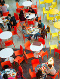 Food court at shopping mall. KYIV, UKRAINE - SEPT 22, 2015: People at Ocean Plaza shopping mall in Kyiv. Ocean Plaza is the second largest shopping mall and Royalty Free Stock Photo