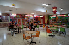 Food court. Society is enjoying the variety of food in a food court at a mall in Karanganyar, Central Java, Indonesia stock photo