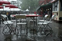 Empty tables during rain storm in St. Louise at Grand Farm. This food court was cleared by a rain storm at Grants Farm, it was a great time to get a table if you Royalty Free Stock Photos