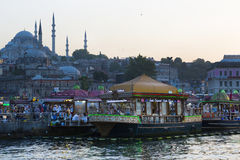 Food courts with traditional sandwiches with fish in Istanbul near the Galata Bridge Royalty Free Stock Photography
