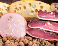 Food cousine cheese and salami composition, ingredient for eatin Stock Images