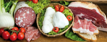 Food cousine cheese and salami composition, ingredient for eatin Stock Photography