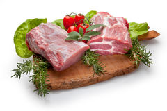 Food cousine meat composition, ingredient for eating. Composition of meat, beef and pork with vegetables Stock Photography
