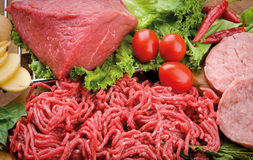 Food cousine meat composition, ingredient for eating. Composition of meat, chicken and  hamburger beef Royalty Free Stock Images
