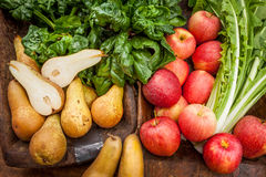Food cousine vegetables and fruit composition, ingredient for eating. Composition of vegetable and fruit pears, apple and chicory Stock Photos