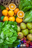 Food cousine vegetables and fruit composition, ingredient for eating. Composition of vegetable and fruit pears, salad and orange Royalty Free Stock Images