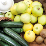 Food cousine vegetables and fruit composition, ingredient for eating. Composition of vegetable, pears, zucchini and kiwi Stock Photo