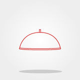 Food cover cute icon in trendy flat style isolated on color background. Kitchenware symbol for your design, logo, UI. Vector illus Stock Images