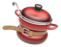 Food crisis concept. With tighten belt and red cooking pot Stock Photos