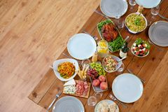 Various food on served wooden table Royalty Free Stock Photography