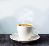 Cup of coffee on highlands background Stock Images