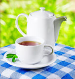 Cup of tea on nature background Royalty Free Stock Photography
