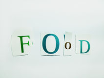 Food - Cutout Words Collage Of Mixed Magazine Letters with White Background. Caption composed with letters torn from magazines with White Background Stock Image