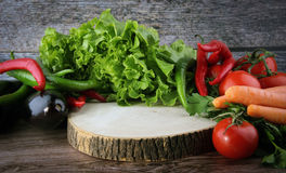 Food cutting board and fresh all vegetable Royalty Free Stock Images