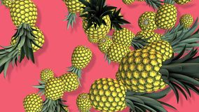 Pineapples fruits 3D, tow video transitions isolated - footage 4K