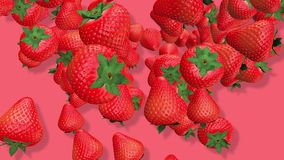 Strawberry fruits 3D, tow video transitions isolated - footage 4K