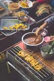 Food in Damnoen Saduak Floating Market near Bangkok, Thailand Stock Image