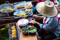Food in Damnoen Saduak Floating Market near Bangkok, Thailand Stock Photography