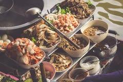 Food in Damnoen Saduak Floating Market near Bangkok, Thailand Stock Photos